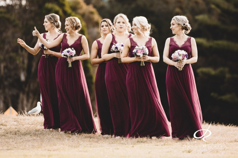 Bridesmaids walking