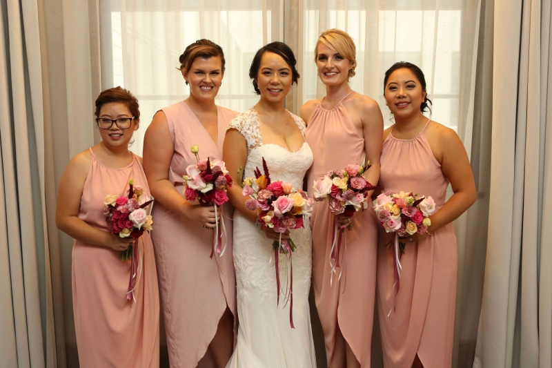 Nina with her bridesmaids-min